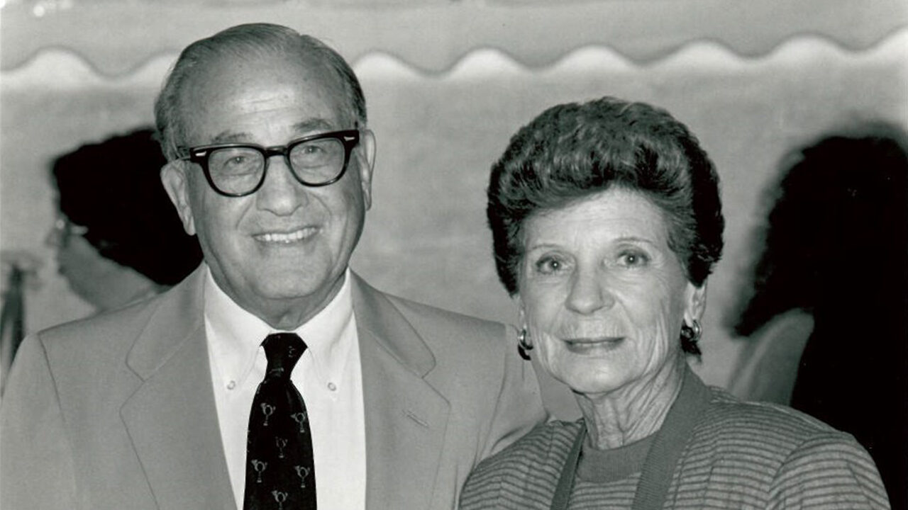 Black and white photo of Max and Marian Farash