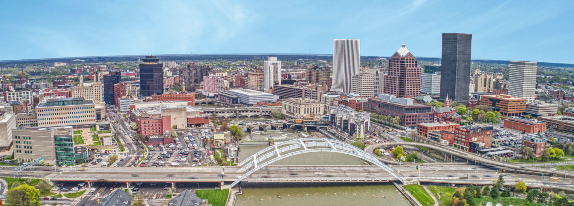 Aerial photo of downtown Rochester